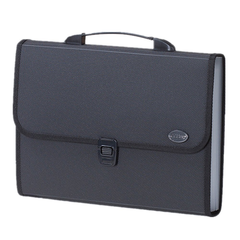 Poly Expanding File Folder with Portable Handle 12 Pockets Letter Size A4 Paper Office Job Folder(Black)