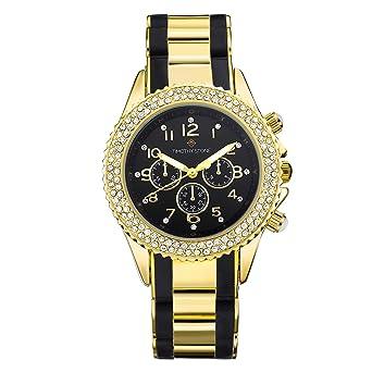 Damenuhren schwarz gold  Timothy Stone AMBER BICOLOR damenuhr - Armbanduhr Analog Quarz ...