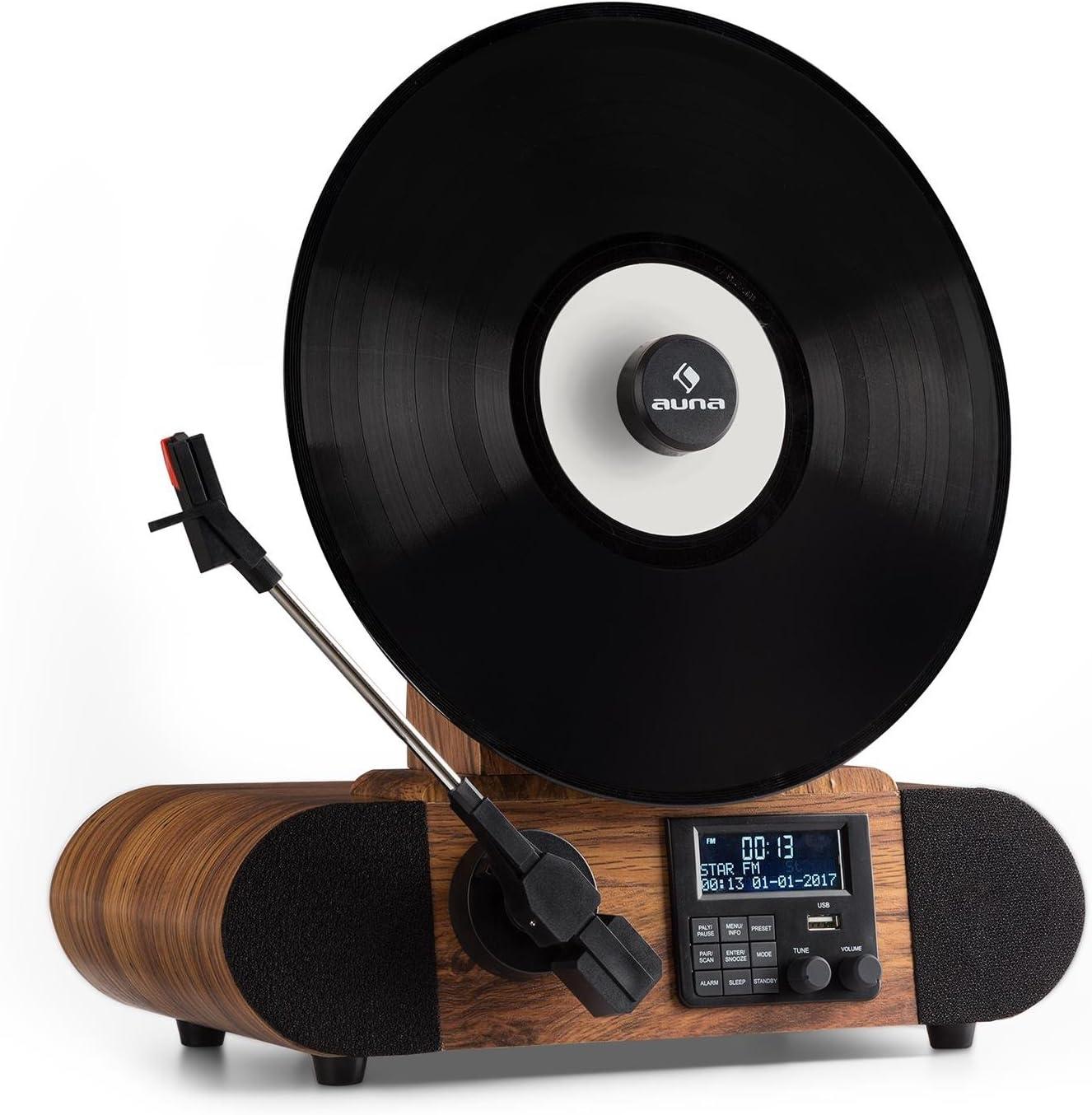 auna Verticalo Dab - Tocadiscos Vintage, Diseño Retro, Dab +, Sintonizador FM, USB, Bluetooth, AUX, Puck magnético, Despertador, Temporizador