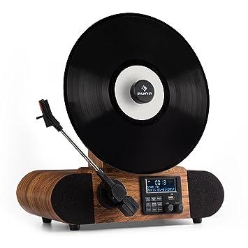 auna Verticalo Dab - Tocadiscos Vintage , Diseño Retro , Dab+ , Sintonizador FM , USB , Bluetooth , AUX , Puck magnético , Despertador , Temporizador ...