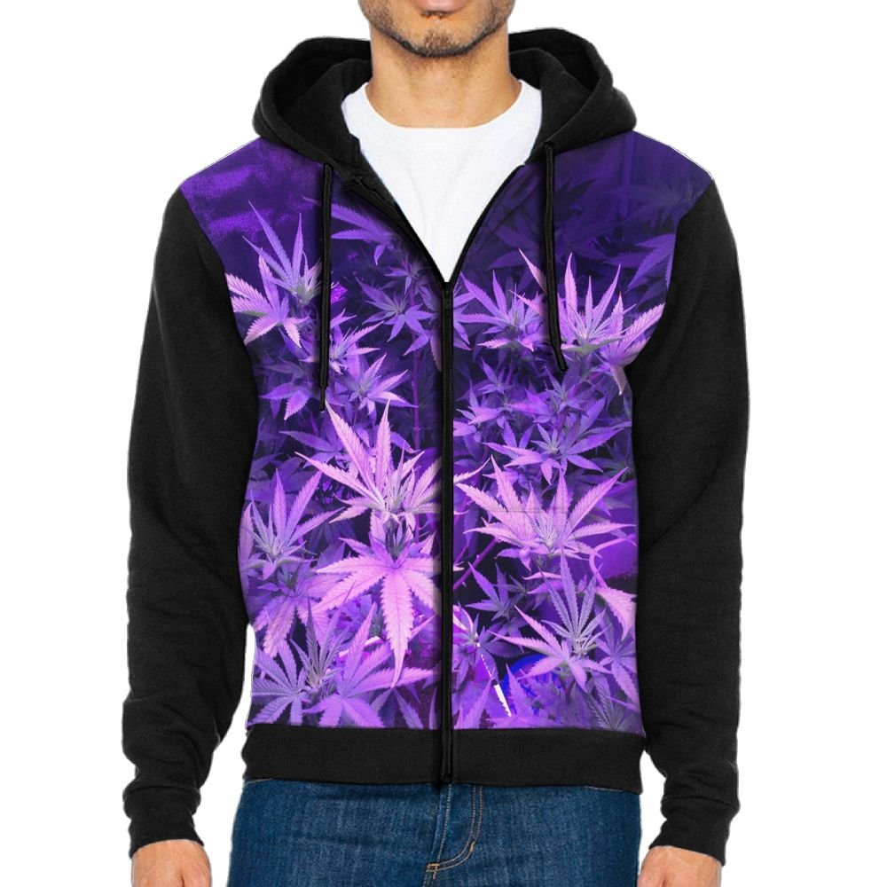 Amazon com: Purple Weed Marijuana Leaf Zipper Hoodie