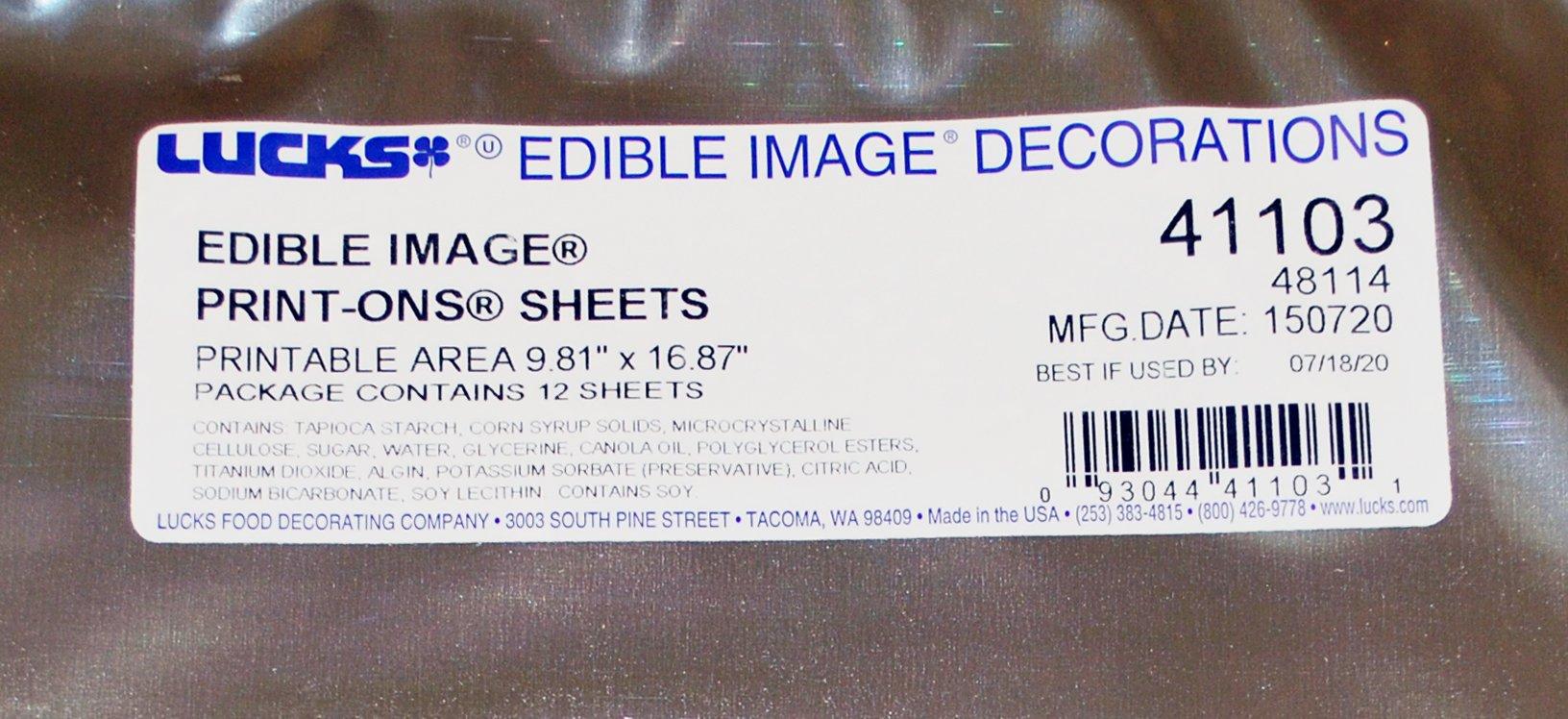 Lucks 48114 / 41103 11'' x 17'' Edible Image Print-Ons Sheets (12 sheets per pack x 2) by Lucks (Image #2)