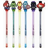Yoobi x Marvel Avengers and Spider-Man Pen Set (6 Pack), Multi Color Gel Pens w/Interchangeable Super Hero Charms – 1.0 Gel P