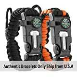 Tactical Survival Bracelet [2 pack] - Paracord 550 + Compass + Fire Starter + Loud Whistle + Emergency Knife - Hiking Camping Fishing Hunting Gear - Color: black + black&orange