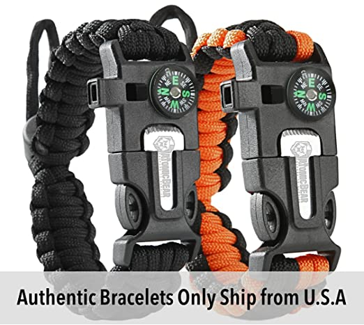 HOLlDAY DEAL - Tactical Survival Bracelet [2 pack] - Paracord 550 + Compass + Fire Starter + Loud Whistle + Emergency Knife - Hiking Camping Fishing Hunting Gear - Color: black + black&orange
