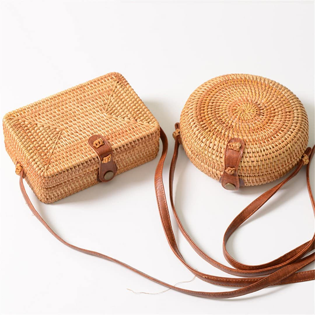 Straw Bags for Women Summer Rattan Bag Round and Square Handmade Woven Beach Girls Shoulder Bag Circle Bohemia Handbag Bali