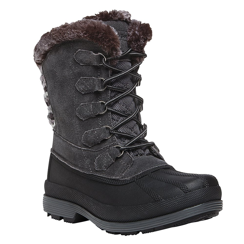 Propet Women's Lumi Tall Lace Snow Boot, Grey, 9 W US