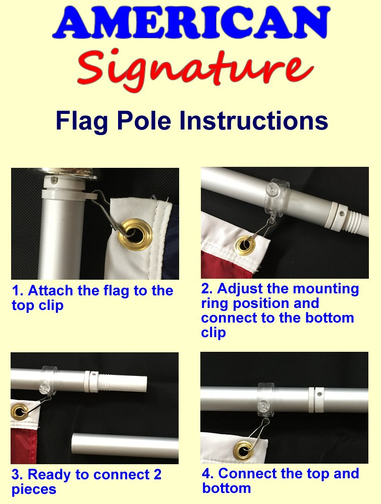 Amazon.com: Flag Pole Kit - Includes 3x5 Ft American Flag Made in ...