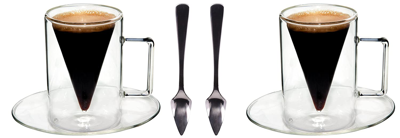 de Feelino cadeau exceptionnel R F Spikey 2x verres /à double paroi de 70 ml et 2 cuill/ères un design moderne pour votre espresso design exclusif