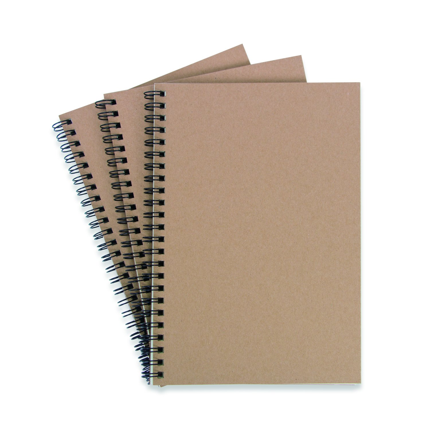 Kraft Paper Cover Notebooks Spiral Notebooks (A5 Size, Set of 3) (Cartwheel Double Iron Ring) by Luck'y stores (Image #1)