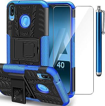 ivencase Funda Samsung Galaxy A40 + Protector de Pantalla, Samsung A40 2 en 1 Duro PC Funda y Soft TPU Cáscara de Cubierta Protectora de Doble Funda Caso para Samsung Galaxy A40: