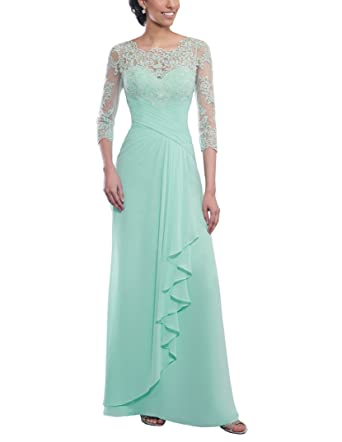 4897470a3c3 LoveMyth Women s Mother Of The Bride Dress Floor Length Chiffon Lace 3 4  Sleeve Bodice