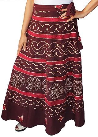 bd96b79af5 Cotton Wrap Around Long Batik Skirt Womens India Clothing (Maroon ...