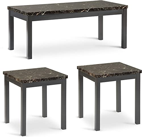 Top Unikes Occasional Table Set of 3 with Marble-Looking Top for Living Room, Casual Coffee Table 2 End Tables with Metal Legs and Apron