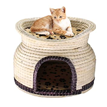 Premewish Juego de Cama para Gato Doble Tejida a Mano con Pajita y Nido para Mascotas