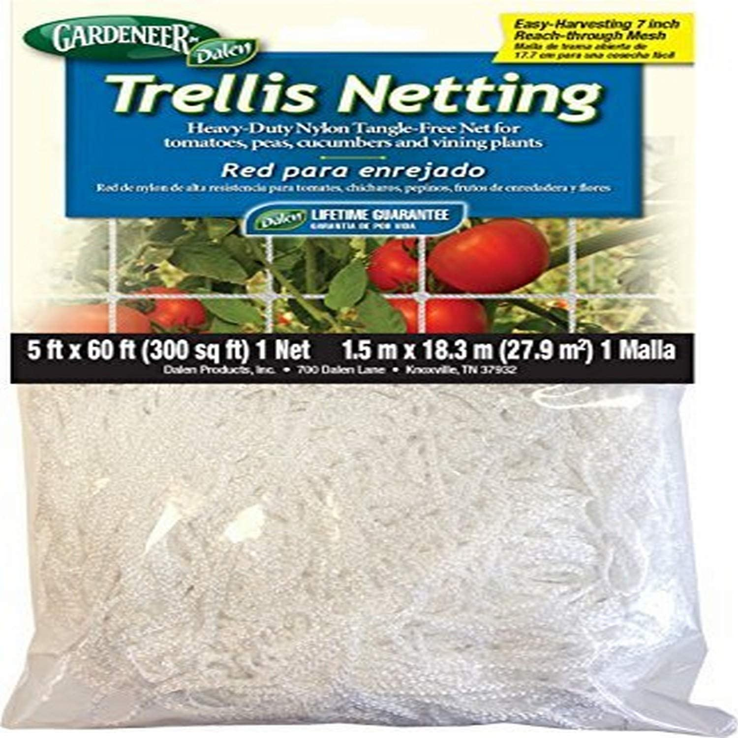 Gardeneer by Dalen Plant Growth Trellis Netting – Nylon Mesh Gardening Net for Vertical Growing Crops – Vegetables & Fruits Cultivation (5' x 60')