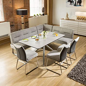 Excellent Quatropi Luxury 8 Seater Grey Booth Left Hand Corner L Bench Alphanode Cool Chair Designs And Ideas Alphanodeonline