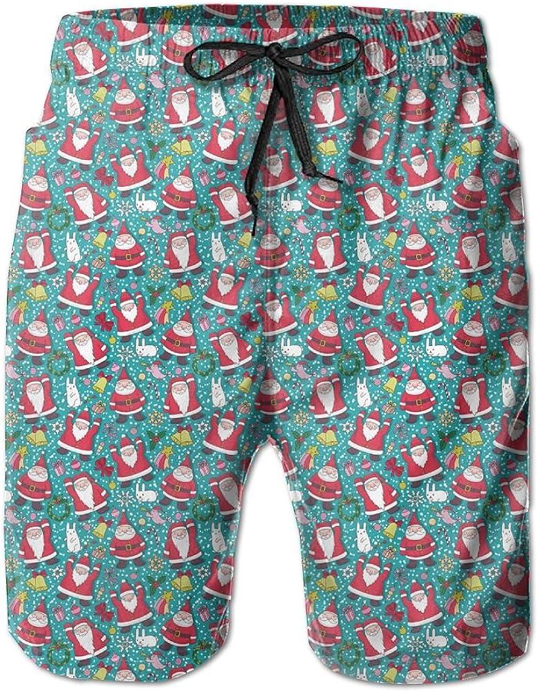 ONE-HEART-HR Men Christmas Santa Swim Trunk Board Short Beach Shorts