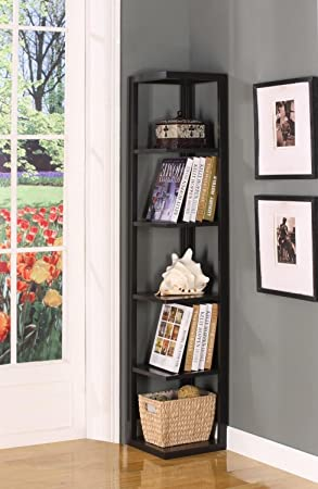 King S Brand Wood Wall Corner 5 Tier Bookshelf Case Espresso Finish Furniture Decor Amazon Com