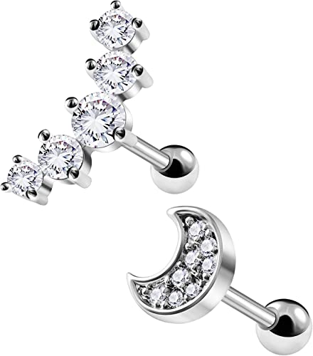 """Clear Crystal 16G 6mm 1//4/"""" 2-5mm Tragus Gold Tone Cartilage Earrings Rings Ring"""