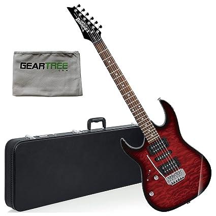Ibanez grx70qatrbl Gio RX zurdos guitarra eléctrica (transparente rojo Burst) W/Carcasa rígida
