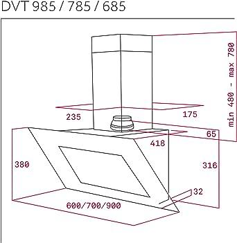 Teka DVT 985 Campana DVT985 Pared 90CM Crist NEG(83562) A, 3 W, 3 Velocidades, Negro: 311.84: Amazon.es: Grandes electrodomésticos