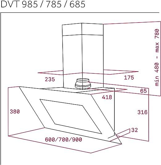 Teka DVT 685 De pared Negro 786m³/h A - Campana (786 m³/h ...
