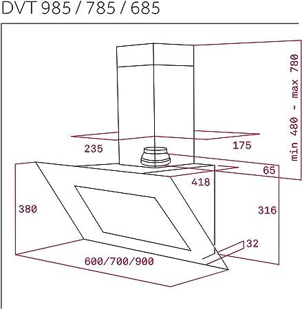 Teka DVT 685 De pared Negro 786m³/h A - Campana (786 m³/h, Canalizado/Recirculación, A, A, C, 52 dB), 41,8 x 60 x 78 cm: 289.6: Amazon.es: Grandes electrodomésticos