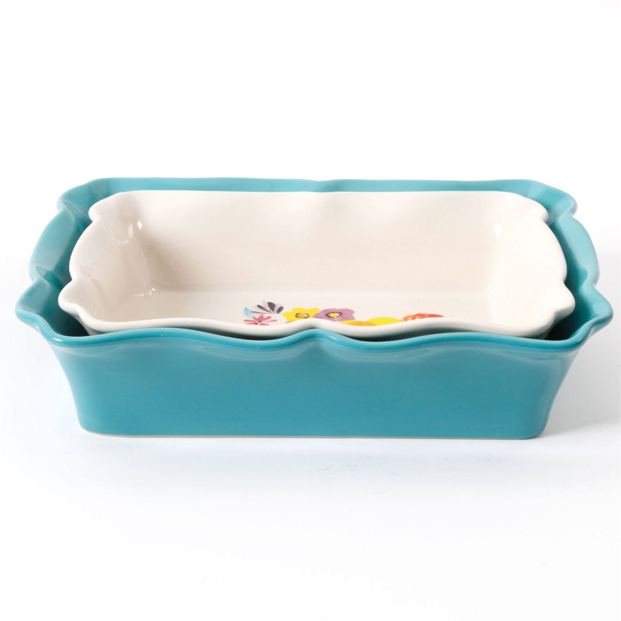 The Pioneer Woman 3.3 Quart Dazzling Dahlias Batter Bowl, 1-Piece bundle with The Pioneer Woman 2-Piece Rectangular Ruffle Top Ceramic Bakeware Set'' by The Pioneer Woman (Image #3)