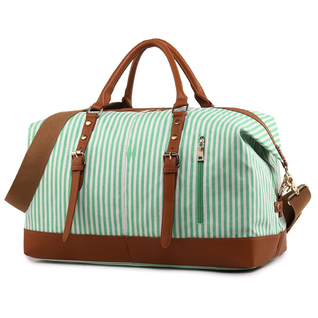 CAMTOP Weekend Travel Bag Ladies Women Duffle Tote Bags PU Leather Trim Canvas Overnight Bag (Green)