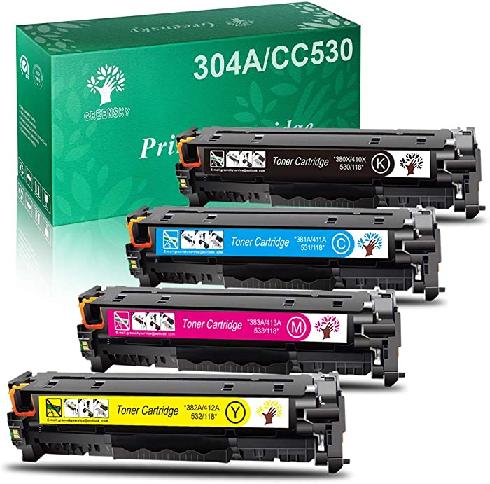 GREENSKY Remanufactured Toner Cartridge Replacement for HP 304A Canon 118 for CP2025DN CM2320N CM2320NF CM2320FXI MFP MF8580CDW MF8350CDN MF8380CDW MF726CDW LBP7660CDN LBP7200CDN Printer (4 Pack)