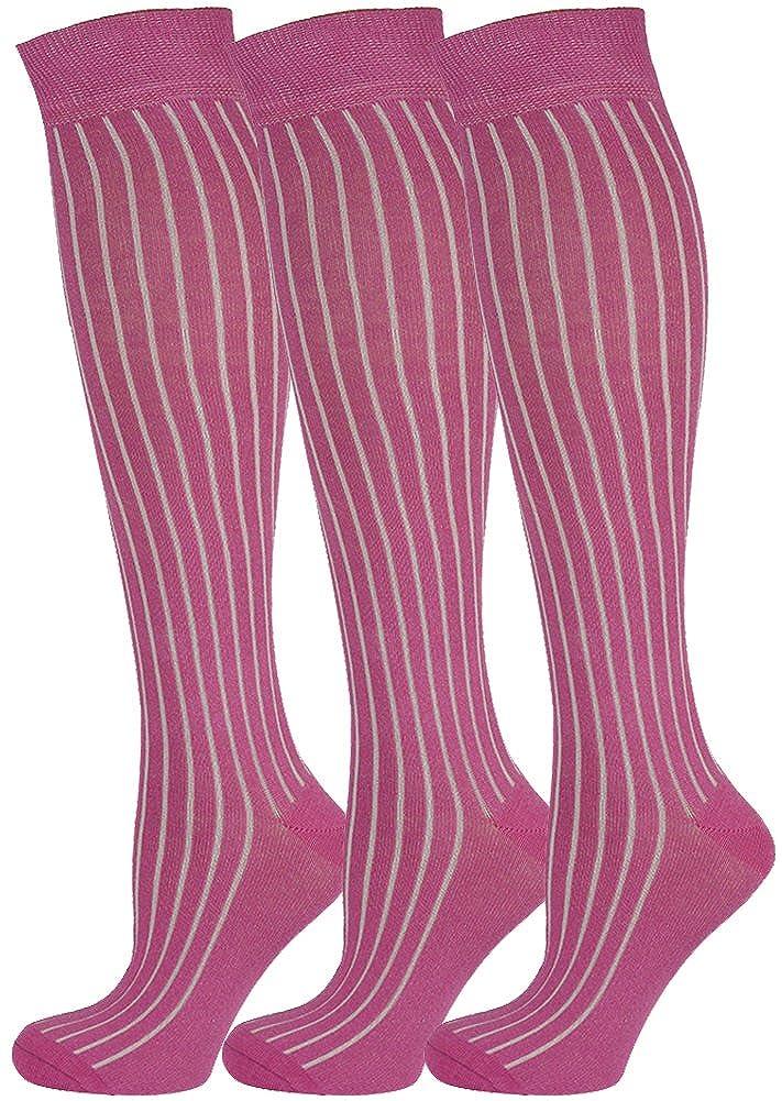 MySocks 3 paires genou unisexe longues longues chaussettes unies c/ôtel/ées avec coton peign/é extra fine