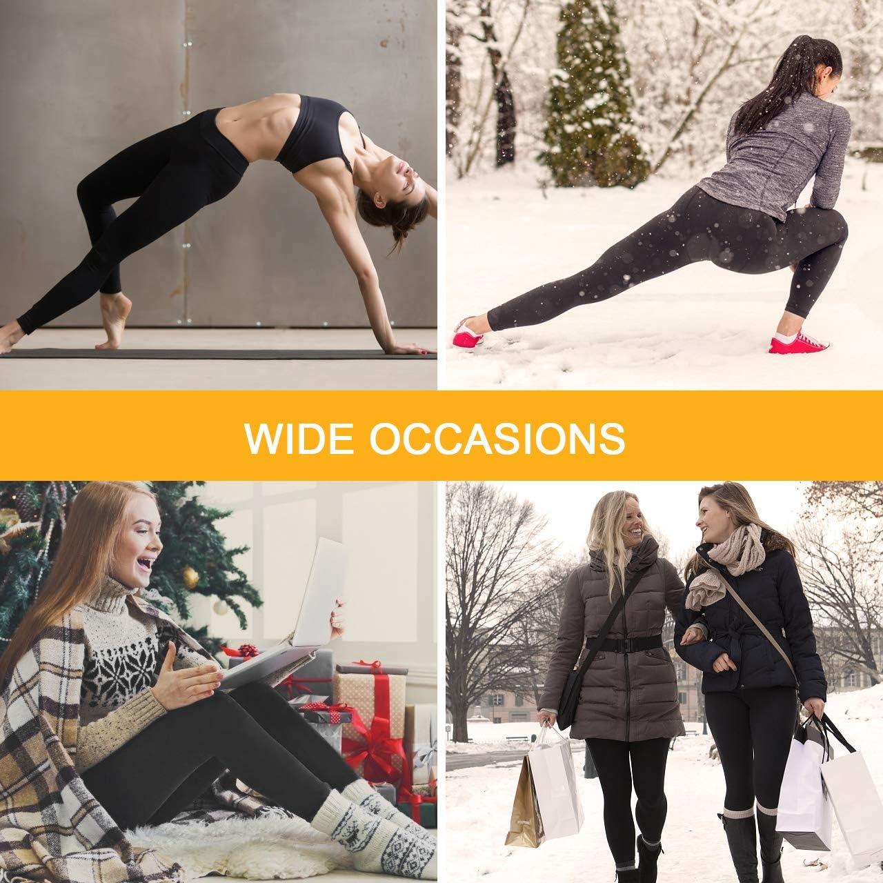 Aiglam Legging Femmes,2 Paires Legging Chaud Femme Pantalons Collants /Élastiques Velours Taille Haute,Thermique Jambi/ères Extensibles pour Fille Noir