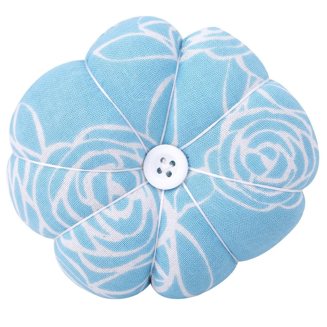 LALANG Wrist Pin Cushion Polka Pumpkin Wrist Band Pin Cushions Wearable Pincushions for Sewing (Light Blue)