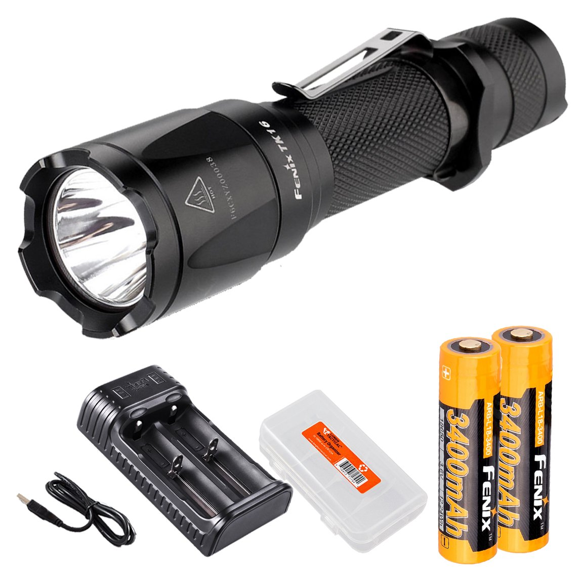 Bundle- 6 items: Fenix TK16 1000 Lumen Tactical LED Flashlight /w Instant Strobe, 2 x Fenix 3400mAH 18650 Rechargeable Batteries, 2 Channel Smart Charger, and LumenTac Battery Organizer by Fenix