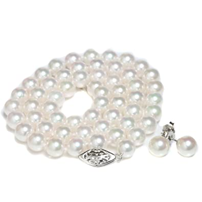 74b8c900a45 Amazon.com: Cultured Akoya Pearl Necklace Earrings Set 7 - 7.5 MM ...