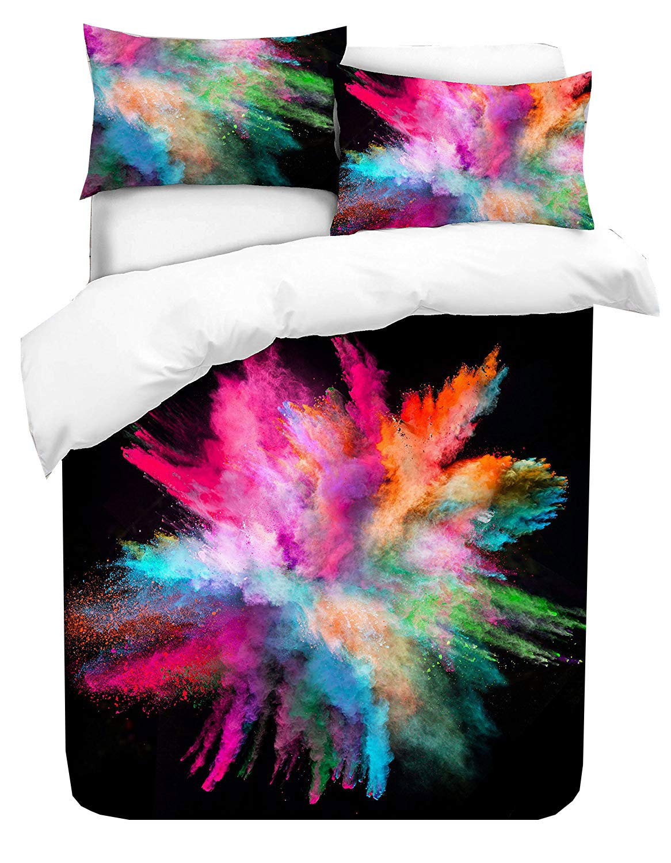Adam Home 3D Digital Printing Bett Leinen Bettw/äsche-Set Bettbezug Colorfull Powder Explosion 1x Kissenbezug Alle Gr/ö/ßen