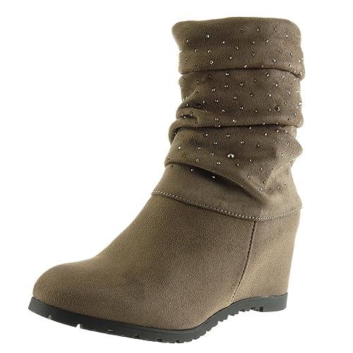 Angkorly - Zapatillas de Moda Botines Cavalier Flexible Mujer Strass Talón Plataforma 8 CM - Plantilla Forrada de Piel - Caqui Y33 T 41: Amazon.es: Zapatos ...
