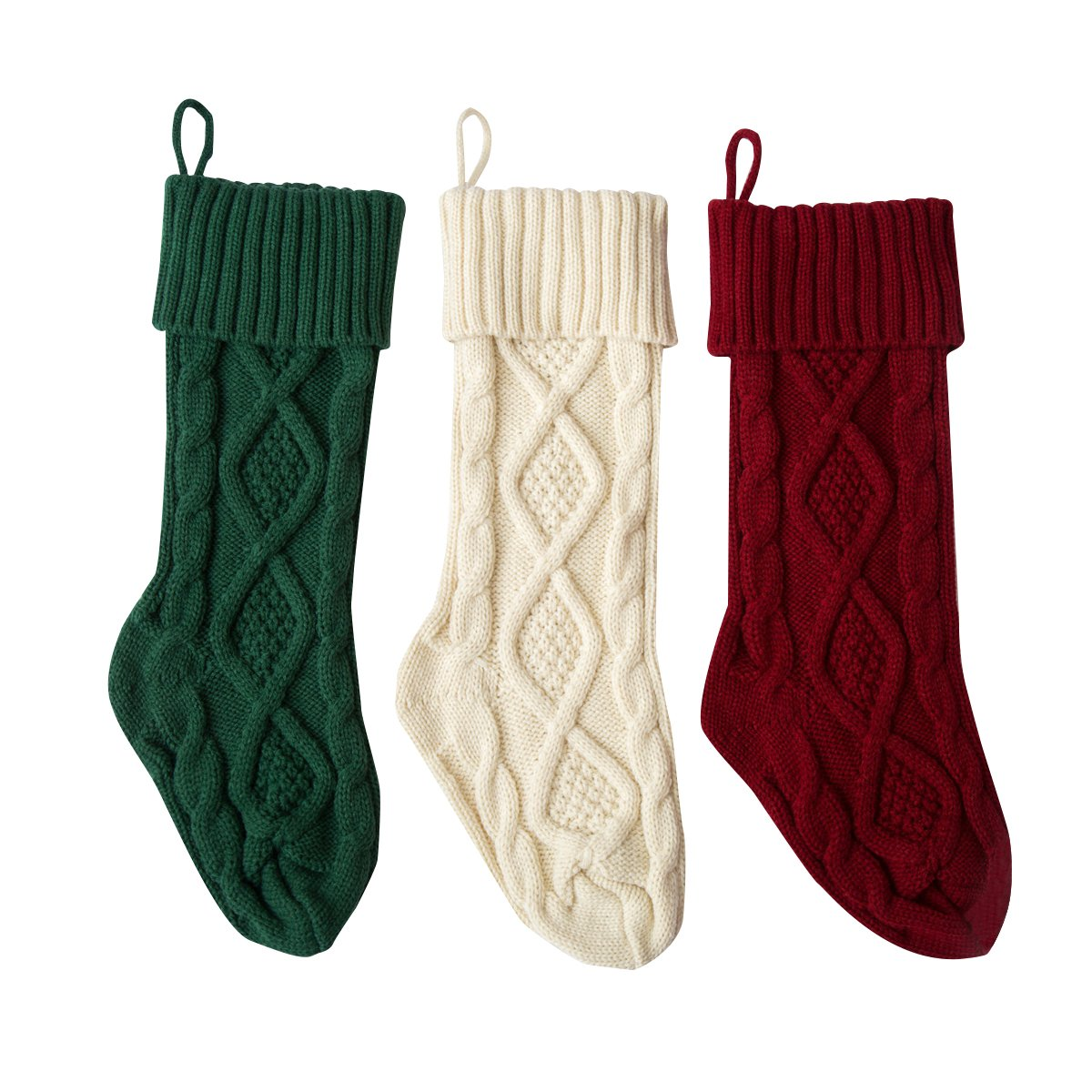 Solucky 3PC Set- 15'' Classic Christmas Knit Stockings, Christmas Decorations, White, Red and Green Sunmate