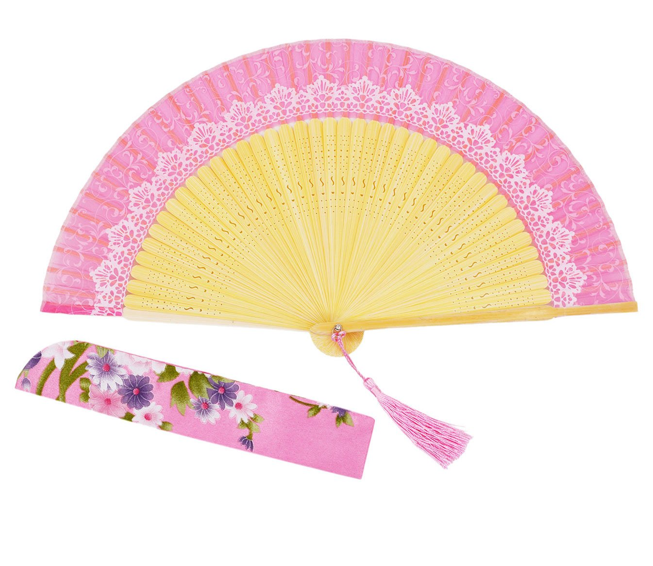 Pink Meifan 100/% Handmade Oriental Chinese//Japanese Vintage Retro Style Hand Held Silk Folding Fans