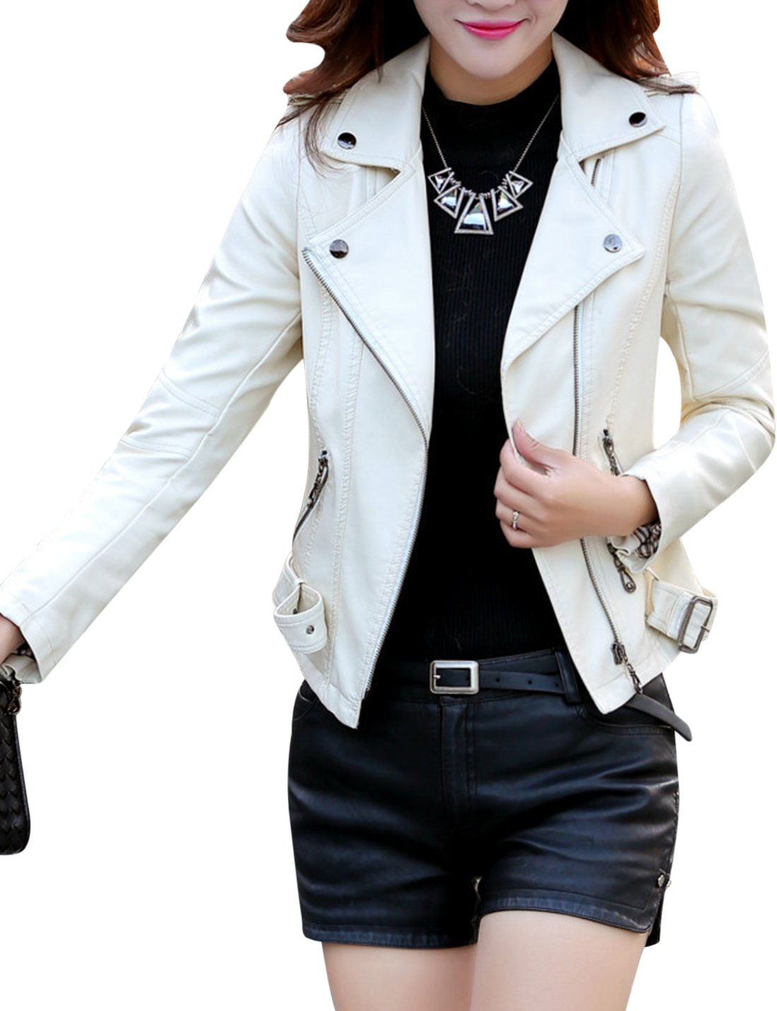 Tanming Women's Classic Style Faux Leather Moto Jacket with Belt (White, Large)