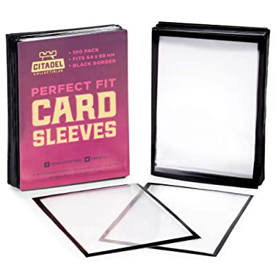100 Pack Black Border Card Sleeves | Double Sleeve with Clear, Durable Plastic Trading Card Protectors for Drafting and Collecting | 100 Inner Sleeves Compatible with Popular Card Games: Toys & Games