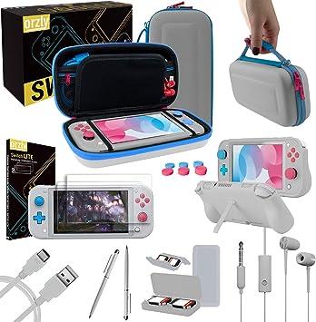 Orzly Paquete de Accesorios para Nintendo Switch Lite – Incluye: Protectores de Pantalla & Funda para Switch Lite Consola, Funda Comfort Grip, Cable USB, Auriculares y más. (Z&Z Edition): Amazon.es: Electrónica