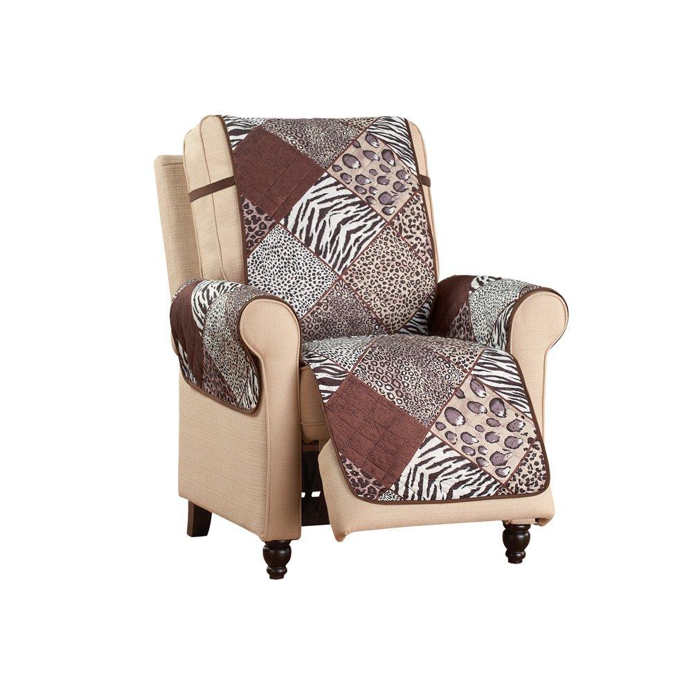 Collections Etc Reversible Safari Animal Print Furniture Protector, Recliner