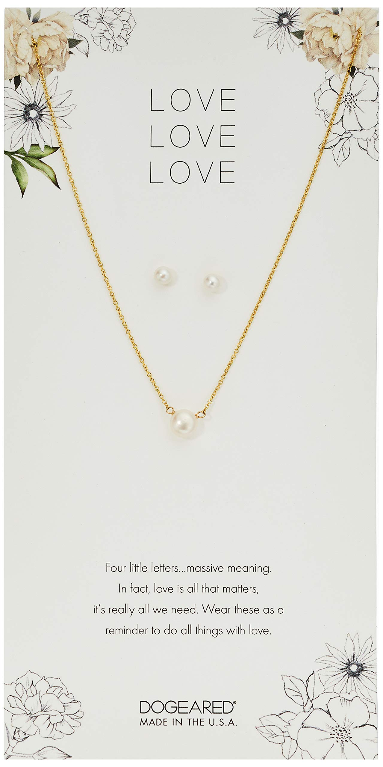 Dogeared Love Small Button Pearl Necklace And Pearl Earrings, Gold, 16'' + 2'' Extension