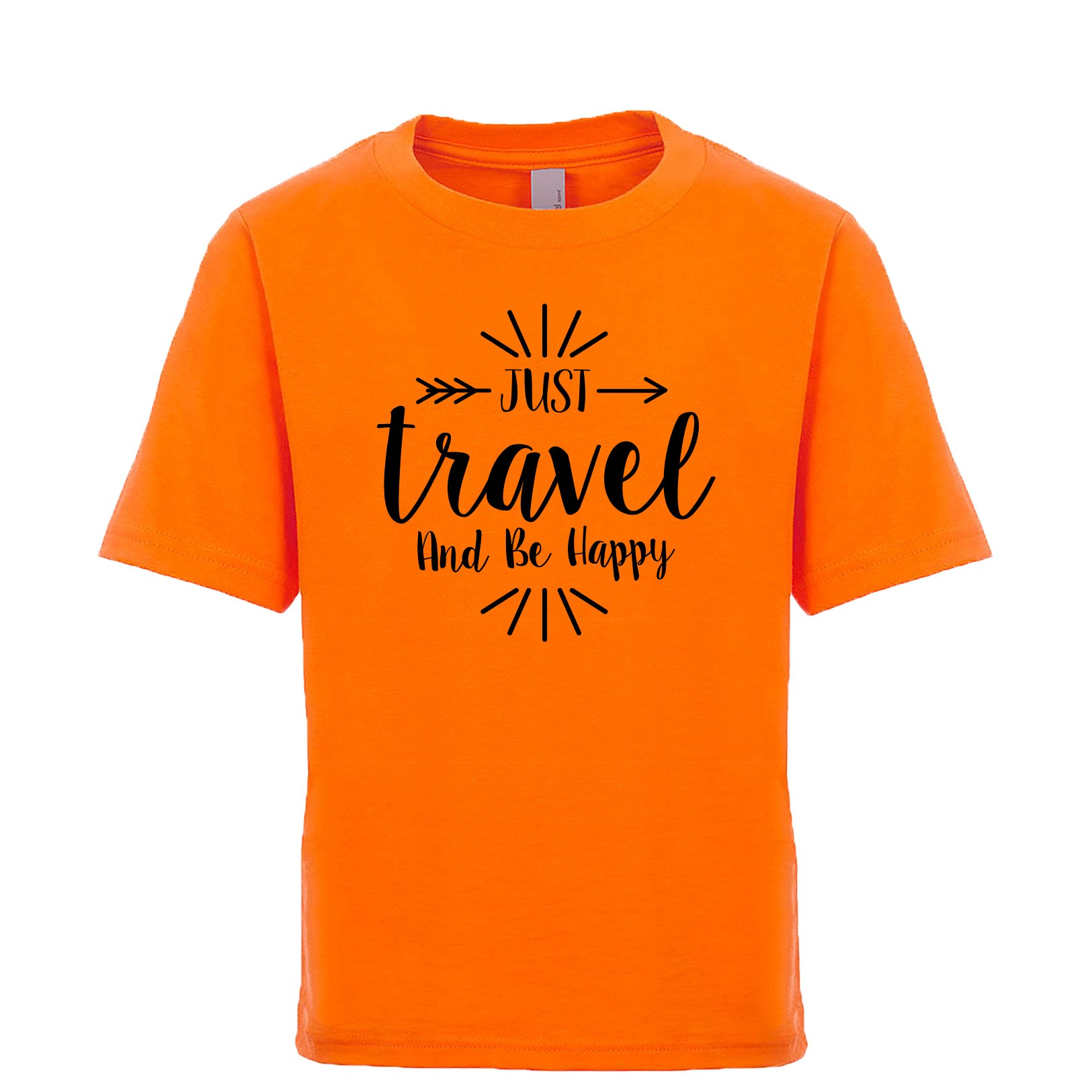 Shirtgoals Just Travel and be Happy Unisex Kids Tee Orange Large