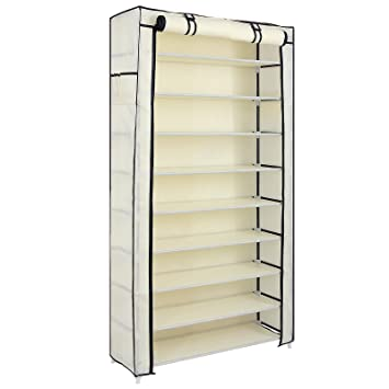 Amazon.com: SONGMICS 10 Tiers Shoe Rack with Dustproof Cover ...