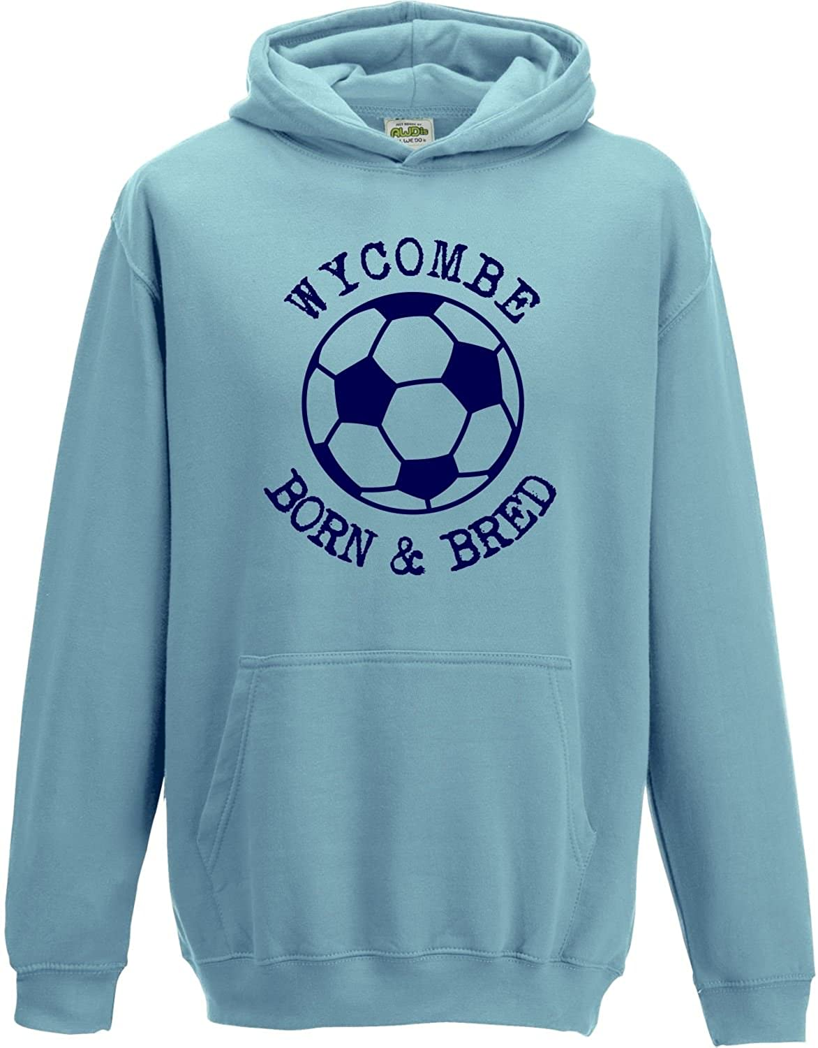 Hat-Trick Designs Wycombe Wanderers Football Baby/Kids/Childrens Hoodie Sweatshirt-Sky Blue-Born & Bred-Unisex Gift