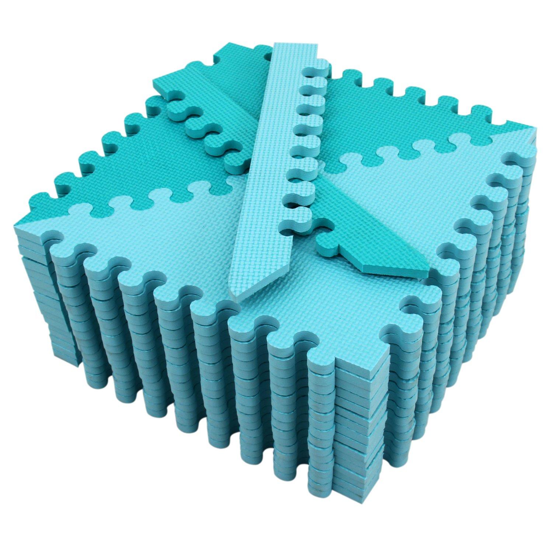 EVA Alfombra puzzle infantil para beb/és de Foam meiqicool suelo extra acolchado para ni/ños,Alfombras de Juegos Infantiles con Valla-Alfombra triangular Gris y blanco 050HUI