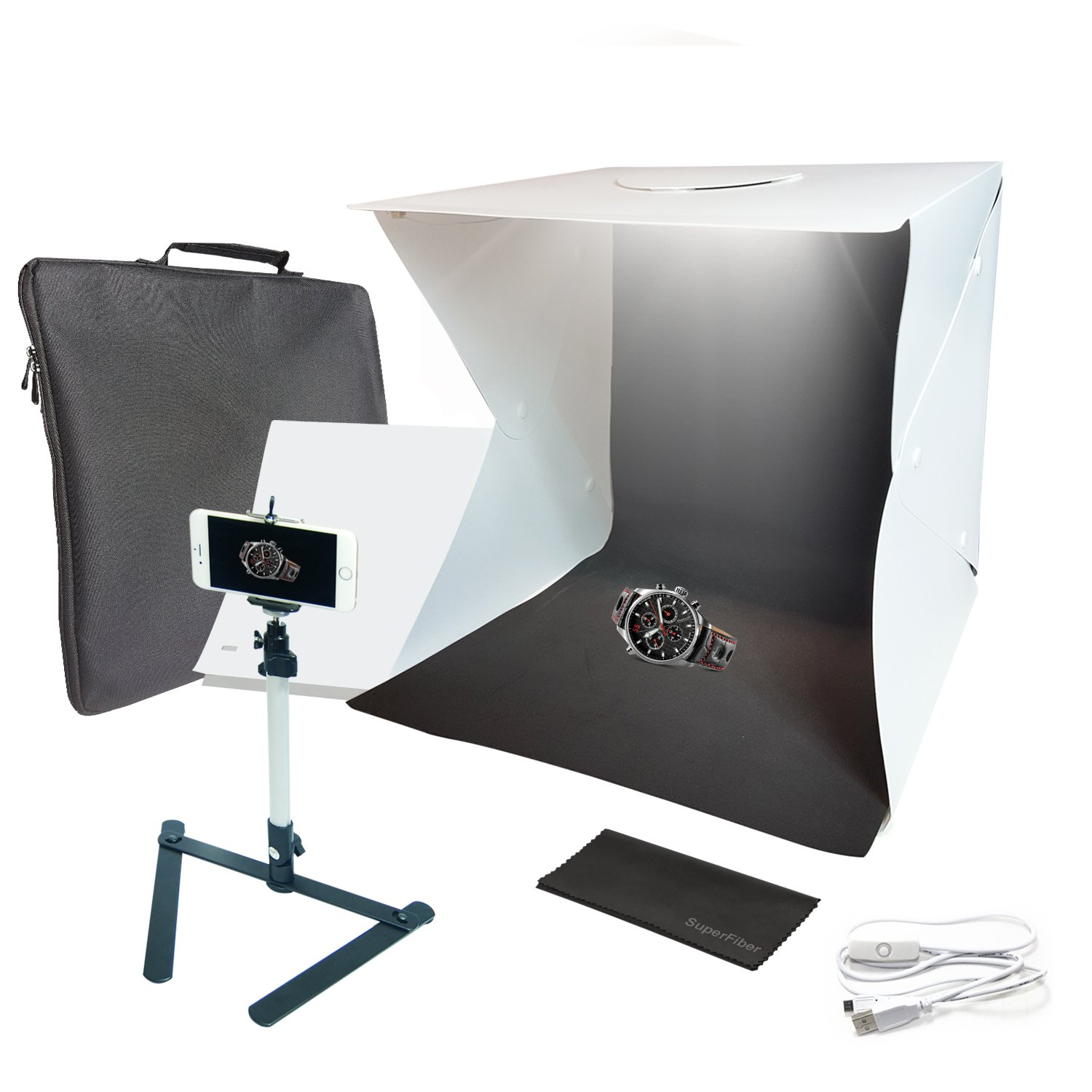 16-inch Cubic (40 x 40 x 40 cm) 70 LED Foldable & Portable Photo Studio Lighting Box Tent Kit with White/Black Background, USB Power Cable, Table Top Mini Stand, Cellphone Clip Holder, AGG2336